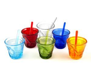 6 Tasses et 6 Touillettes verre, multicolore - 11cL