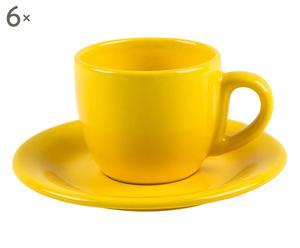 6 tasses à café Grès, Jaune - Ø6
