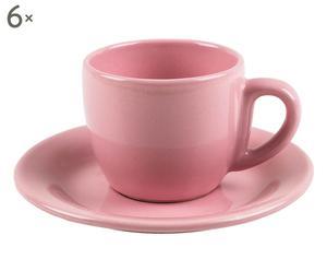 6 tasses à café Grès, Rose - Ø6