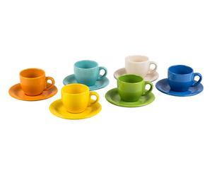6 tasses à café Grès, Multicolore - Ø6