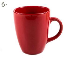 6 Mugs Grès, Rouge - Ø9