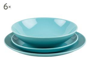 Service 18 Assiettes Grès, Bleu pâle
