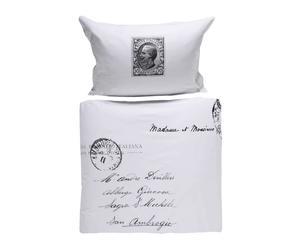 Parure de lit, Satin et coton -  Blanc Et Noir
