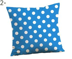 2 Coussins Polyester, Points bleu - 45*45