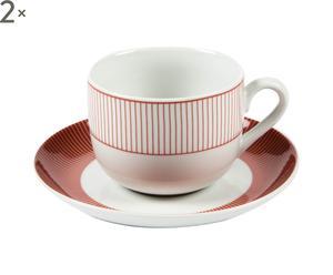 2 Tasses et 2 soucoupes SARA Porcelaine, Rouge