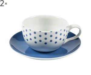 2 Tasses et 2 soucoupes Porcelaine, Bleu