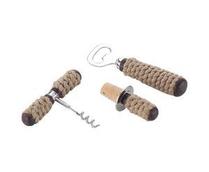 3 Accessoires pour bouteille Inox et corde, Argenté et beige - L15