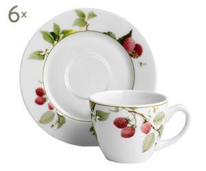 6 Tasses à expresso et Sous-tasses nadia, Porcelaine - Ø12