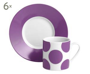 6 Tasses à café et Sous-tasses Porcelaine, blanc et lilas - Ø12