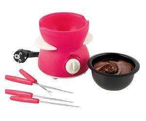 Appareil à fondue Plastique, antiadhésif et Inox, Fuchsia et noir - L15