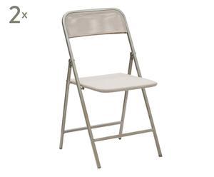 2 Chaises aluminium et toile, Gris - L45