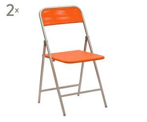 2 Chaises aluminium et toile, Orange - L45