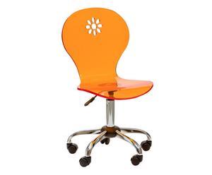 Chaise à roulettes métal et acrylique, Orange - Ø53
