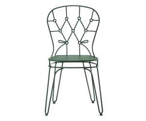Chaise Fer verni et polyester, Vert - L50