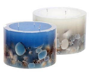 2 Bougies à 3 mèches Cire et coquillages, Bleu et blanc - Ø14