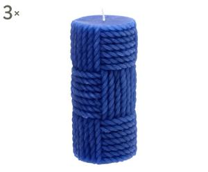 3 Bougies Cire, Bleu - H15