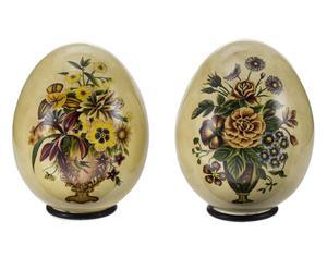 2 Oeufs décoratifs Céramique, Vert et beige - H13