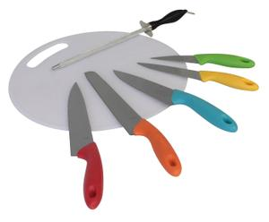 Planche à découper, aiguiseur et 5 couteaux inox et polypropylène, Multicolore - Ø30