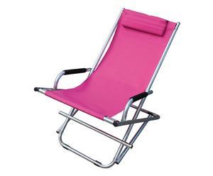 Chaise longue MISSY Aluminium et tissu, Fuchsia - L60
