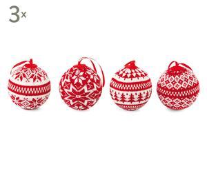 12 Boules de Noël à suspendre Laine, Blanc et rouge - Ø7