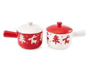 2 Petites casseroles à couvercle Céramique, Blanc et rouge - Ø12