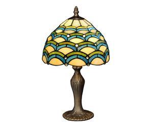 LAMPE À POSER I VITRAIL ET MÉTAL, MULTICOLORE ET BRONZE - H41