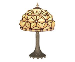 LAMPE À POSER I VITRAIL ET MÉTAL, MULTICOLORE ET BRONZE - H42
