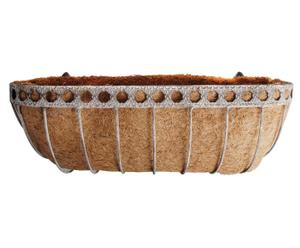 Jardinière Métal et fibres de coco,  Blanc rouillé et Naturel - L60
