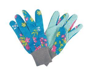 Paire de gants de jardinage Tissu et caoutchouc, Turquoise et Multicolore - H23