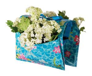 Support pour plantes Tissu, Turquoise et Multicolore - H26