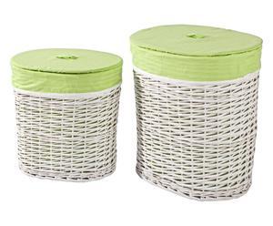 2 Paniers à linge osier - Blanc et vert