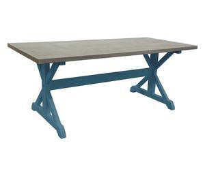 TABLE BOIS MASSIF, BLEU - 200*78