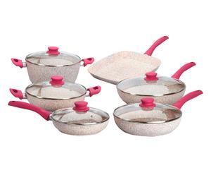 Batterie de cuisine 11 pièces perle, granite de quartz rose et aluminium - fuchsia