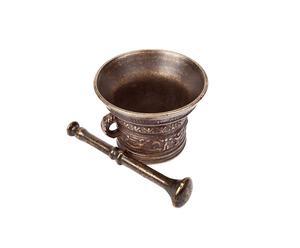 Pilon et mortier laiton, bronze - H17