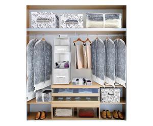 ENSEMBLE POUR DRESSING, PVC, CARTON ET PEVA - GRIS ET BLANC