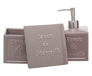 set bagno in ceramica marseille tortora - 3 pezzi