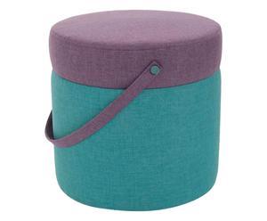 Pouf-coffre KOVVA Bois et tissu , Violet et bleu  - Ø45