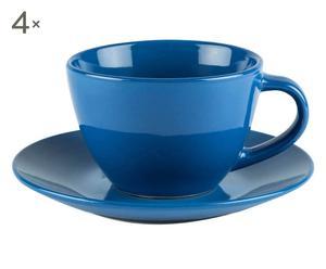 4 Tasses à thé et 4 soucoupes Grès, Bleu - 45 cl