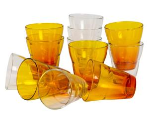 12 VERRES,  - ORANGE ET TRANSPARENT
