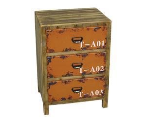 Commode 3 tiroirs bois et fer, Orange  - H68