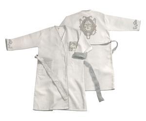 Robe de chambre, Coton - Gris et blanc