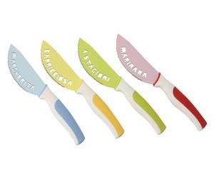 4 Couteaux à pizza LA CUCINA Acier, Multicolore - L21
