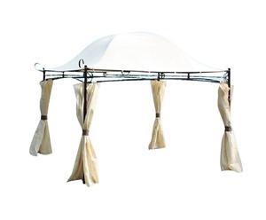 Gazebo da giardino in acciaio con teli laterali bianco - 300x250x300 cm