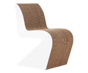Chaise AMANDA carton et bois, beige et blanc - L37
