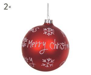 2 Boules de noël MERRY CHRISTMAS verre, rouge et blanc - Ø12