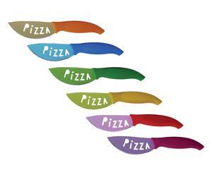 6 Couteaux à pizza ATTENTIVE acier, multicolore - L10