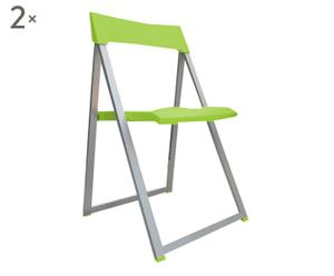 2 Chaises pliantes aluminium, vert - L48