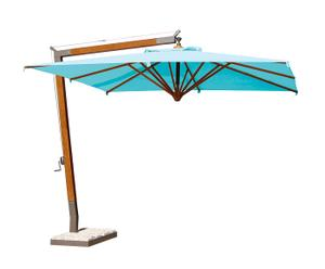 Parasol PANAMA bois et métal, turquoise et naturel - 300*300