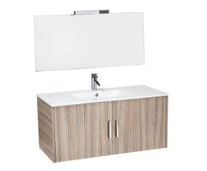 Salle de bain ARIEL, mélamine et métal - naturel et blanc