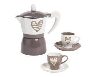 Service à café - gris tourterelle et blanc